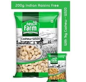 Neu.Farm Cashew W320 1kg Premium Quality + 200g Indian Raisins Free for Rs.925 @ Amazon