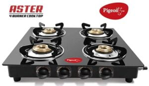 Pigeon by Stovekraft Aster 4 High Powered Brass Burner Glass Top Gas Stove for Rs.2849 @ Amazon