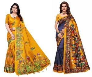 Yashika Cotton Silk Saree With Unstitched Blouse Piece upto 84% off @ Amazon