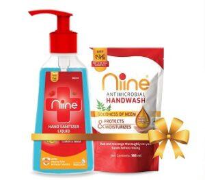 Niine Hand Sanitizer Liquid 70% Alcohol 500 ml + 180ml Hand wash Refill for Rs.130 @ Amazon
