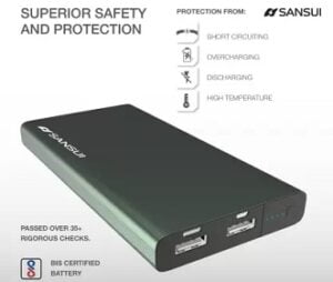 Sansui 10000 mAh Power Bank (12 W, Fast Charging) for Rs.649 @ Flipkart