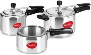 Pigeon Aluminium Pressure Cooker Combo 2, 3, 5 Litre Inner Lid with Induction base