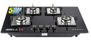 iBELL 555GH Hob Toughened Glass 4 Burner Top Gas Stove with Auto Ignition