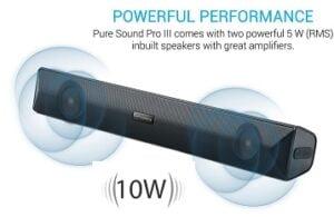 Portronics Pure Sound Pro III POR-891, Bluetooth 4.2 an All-in-One Versatile Wireless SOUNDBAR with FM Tuner, 3.5mm AUX, Powerful 10W Sound and USB Port.