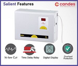 Candes Crystal 4kVA for 1.5 Ton AC (90V to 290V) Voltage Stabilizer with Wide Working Range Best for Inverter AC, Split AC or Windows AC Upto 1.5 Ton