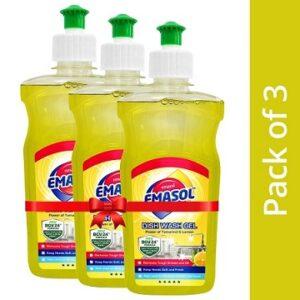 EMAMI EMASOL Dish Wash Gel with Lemon & Tamarind, Removes Grease, Lemon Fragrance, 500 ml (Pack of 3)