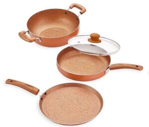 Nirlon Ultimate 4-Piece Aluminium Non Stick Induction Cookware Gift Set with Glass Lid