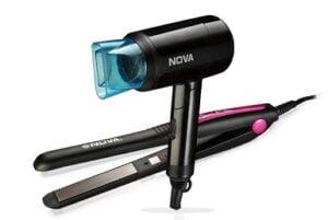Nova 840 + 8105 Hair Straightener And Hair Dryer Styling Kit