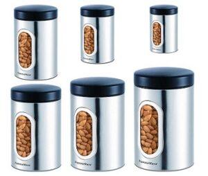 Signoraware Modular Steel Container Set of 6 (350ml+550ml+950ml+1400ml+1800ml+2300ml)
