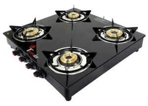 Thermador ISI Certified 8mm Toughened Glass Top 4 Brass Burner Gas Stove for Rs.2429 @ Amazon
