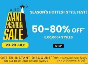 AJIO GIANT FASHION SALE: Clothing & Footwear – 50% – 80% off + Extra 5% off on All Debit/Credit Card