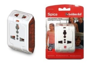Goldmedal Curve Plus 202042 Plastic Spice 3-Pin Universal Travel Adaptor for Rs.100 @ Amazon