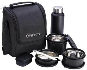 Oliveware Teso Lunch Box with Bottle 3 Stainless Steel Containers and Pickle Box with Insulated Fabric Bag
