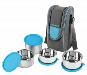 Cello Steelox Stainless Steel Lunch Box-4 Steel Capacities – 225ml, 375ml x 2, 550ml) for Rs.529 @ Amazon