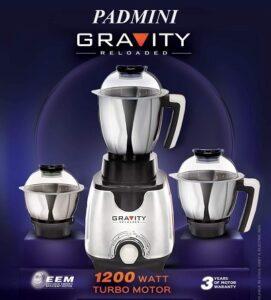 Padmini Gravity 1200W Mixer Grinder With Jar