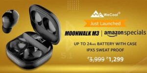 WeCool Moonwalk M3 Bluetooth in Ear True Wireless Earbuds with High Bass, Touch Control with HD Stereo Sound for Rs.1298 @ Amazon