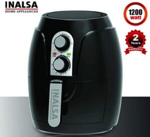 Inalsa Air Fryer Crispy Fry-1200W with Smart Rapid Air Technology, Timer Selection and Fully Adjustable Temperature Control