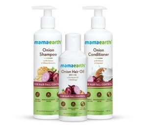 Mamaearth Anti Hair Fall Spa Range with Onion Hair Oil + Onion Shampoo + Onion Conditioner for Hair Fall Control for Rs.767 @ Amazon