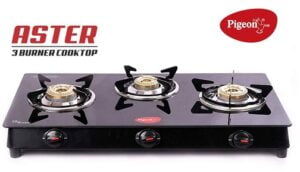 Pigeon by Stoverkraft Glass Top Gas Stove Aster 3 Burner for Rs.2299 @ Amazon