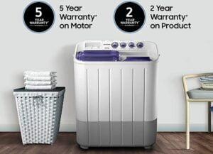 Samsung 7.2 kg Semi-Automatic Top Loading Washing Machine (WT725QPNDMPXTL, Center Jet Pulsator)