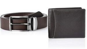 Solimo Men's Genuine Leather Belt & Wallet, RFID Blocking for Rs.399 @ Amazon