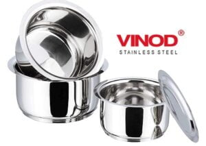 Vinod Stainless Steel Tope Set of 3 (Bhagona) with Lid (1L, 1.4L, 1.8L) for Rs.950 @ Amazon